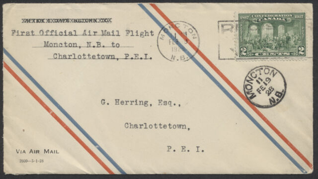 1928 AAMC #2807 Moncton to Charlottetown Feb 19th Flight, 1st CPO Air Mail Envel