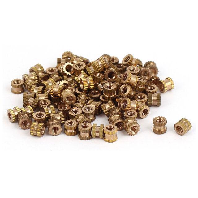 100tlg M2*3mm Messingzylinder Gerändelter Muttern mit Gewinde Runder Einsatz