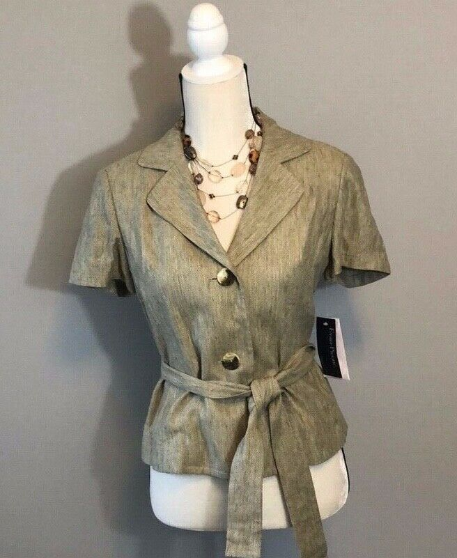 Evan Picone Brown Two Button Top with Belt Size 6P