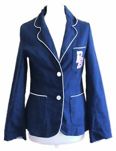 Pauls-Boutique-Fitted-Navy-Blue-Nautical-Double-Breasted-Blazer-Jacket-M-10-12