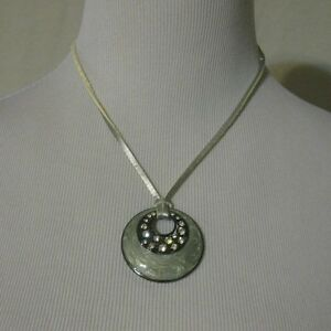 Lia sophia necklace blue grey medallion with rhinestones silver la foto se est cargando lia sophia azul gris collar medallon con diamantes aloadofball Image collections