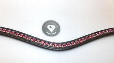 QHP Leder Stirnriemen Lupine schwarz kleine Strass-Steine 2 Farben Gr Pony+VB+WB