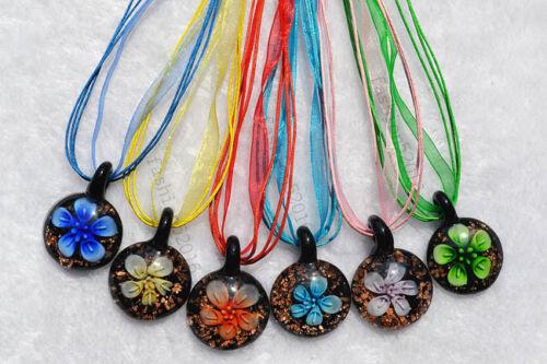 FREE Wholesale 12pcs Jewelry Round Flower Lampwork Glass Pendants Silk Necklace