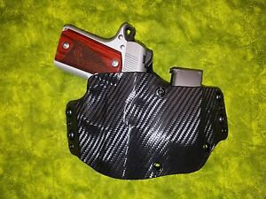 Details about HOLSTER WITH EXTRA MAG BLACK CARBON FITS KIMBER MICRO 9mm  (W/CRIMSON TRACE) OWB