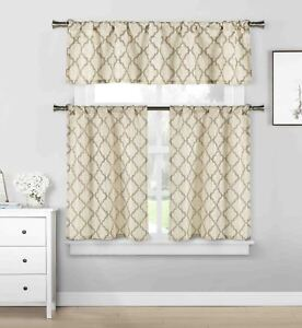 Taupe\Beige 3pc Cafe Tiers Kitchen Curtain Set: Trellis Design\1 Valance\2 Tiers