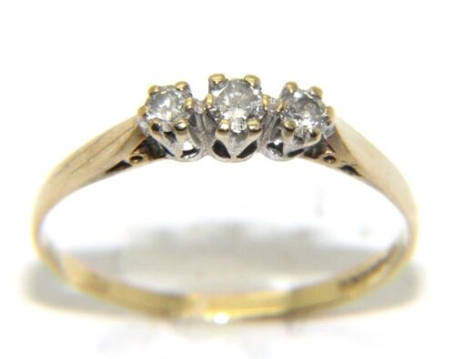 Women's Ladies 9carat 9ct yellow gold diamond trilogy ring UK size O 12