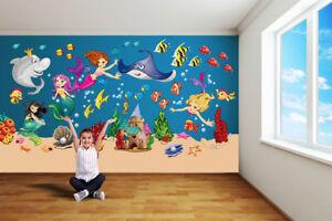 Wandsticker Kinderzimmer Xxl Wandtattoo Meerjungfrau Fische Unterwasserwelt Meer Ebay