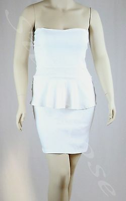 WOMENS CLOTHING SEXY LITTLE WHITE STRAPLESS PEPLUM BUSINESS STYLE DRESS