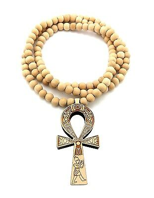 """NEW ANKH CROSS GOOD QUALITY WOOD PENDANT 8mm//36/"""" WOODEN BEAD NECKLACE XJ217"""