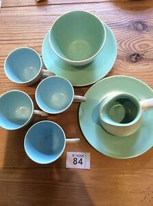Vintage-Poole-Pottery-Twin-Tone-Blue-Dove-Grey-Cups-amp-Green-Sugar-Bowl-Milk-Jug