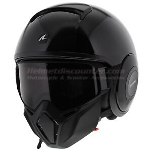 - Open Face Motorcycle Helmet Size S // M BLK Shark S-Drak Blank Gloss Black