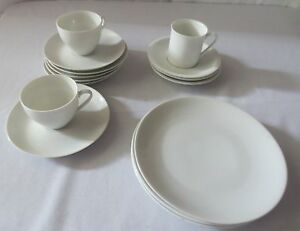 Image is loading ARZBERG-GERMANY-CHINA-15-PURE-WHITE-PORCELAIN-Cups- & ARZBERG GERMANY CHINA 15 PURE WHITE PORCELAIN Cups Saucers Salad ...