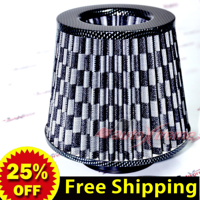 "UNIVERSAL 3"" 76mm AIR INTAKE Performance Clamp-On Dry FILTER Tapered Cone BLACK"