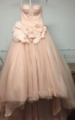Vera Wang Blush Pink Wedding Dress Size 12 14 Custom Corset Back
