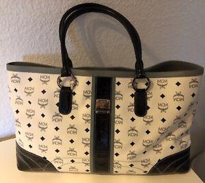 Details zu MCM Michael Cromer München Original Reisetasche weiß blau Luxus Vintage
