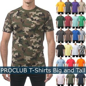 5b9a45268ae124 PROCLUB Mens T Shirts HEAVY BIG AND TALL TEE Hip Hop short Sleeve XL ...