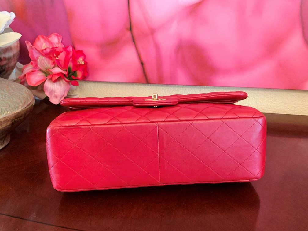 Authentic Chanel Classic Jumbo Red Lambskin Doubl… - image 3