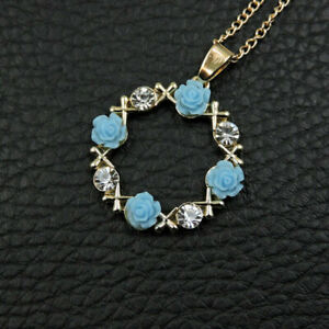 Betsey-Johnson-Blue-Crystal-Garland-Flower-Pendant-Sweater-Chain-Womens-Necklace