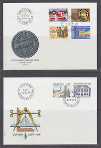 Switzerland-Mi-1116-1141-1978-issues-5-cplt-sets-on-5-cacheted-official-FDCs