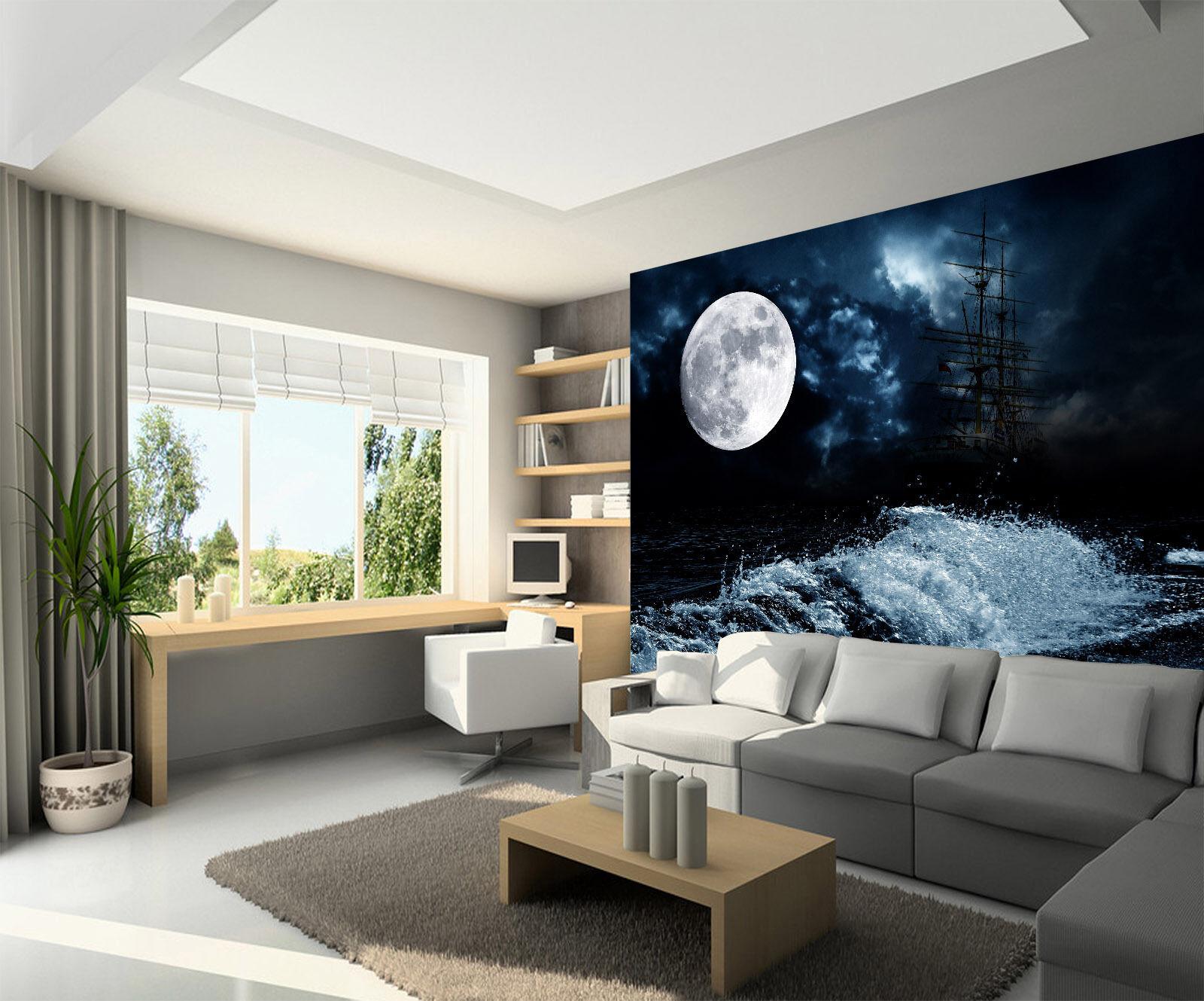 3D Moonlight Branches River 12 Wall Paper Wall Print Decal Wall AJ WALLPAPER CA