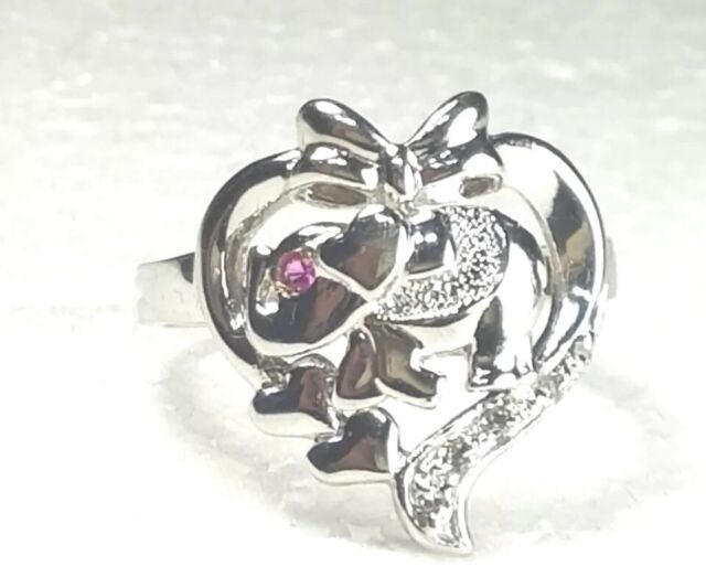 14k SOLID vintage white gold elephant LUCK ring manmade diamond ruby 8 5679 10
