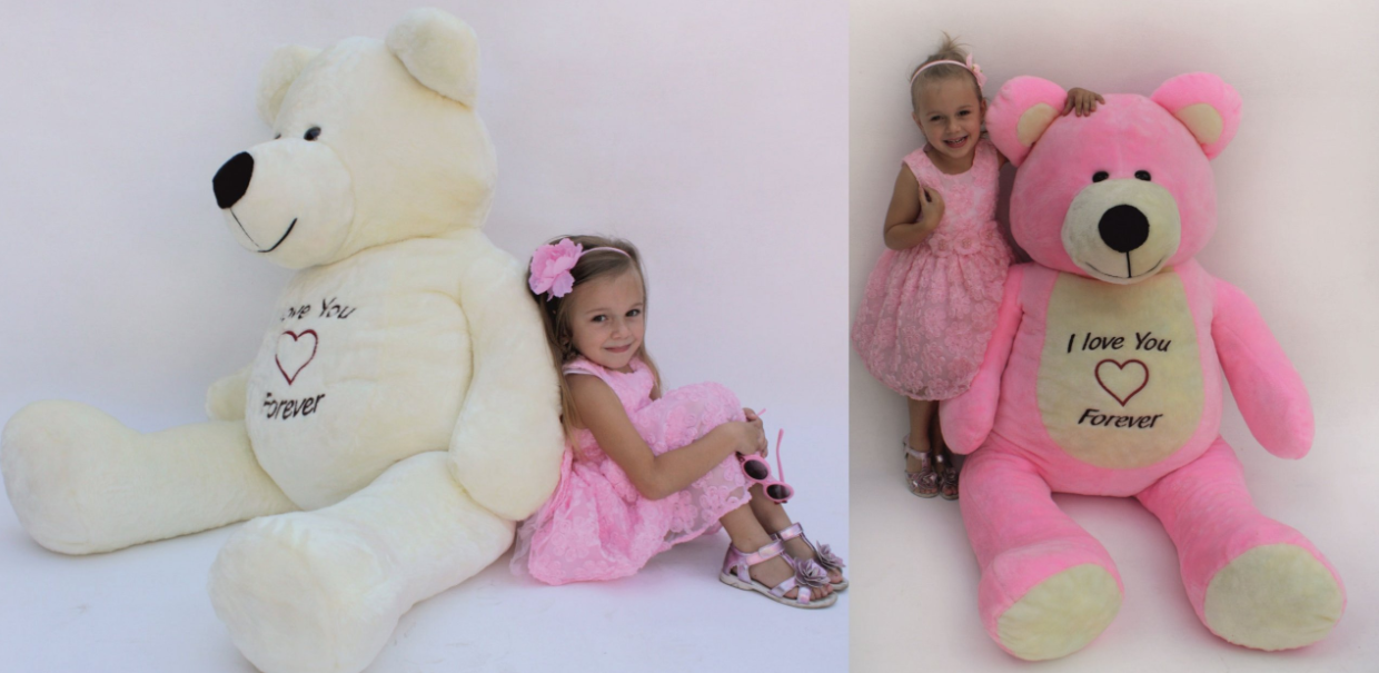180 cm   GIANT LARGE BIG HUGE TEDDY BEAR Rosa Weiß EMBROIDERY birthday wedding