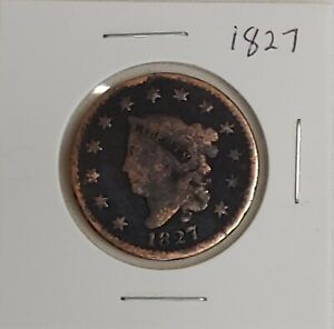 1827 US LIBERTY Coronet Large Penny One Cent Coin Circulated US Currency 50121D
