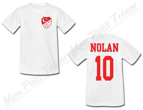 T-shirt Bébé Equipe Nationale Football Turquie avec Prénom Personnalisé