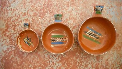 "vintage set 3 redware cooking pots,Mexico,hand painted,4.5 to 8"" + handles"