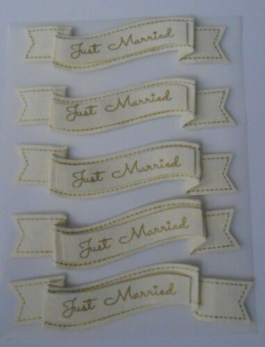 3D BANNER JUST MARRIED IVORY//GOLD 5 PIECES EMBELLISHMENTS FOR CARDS AND CRAFTS