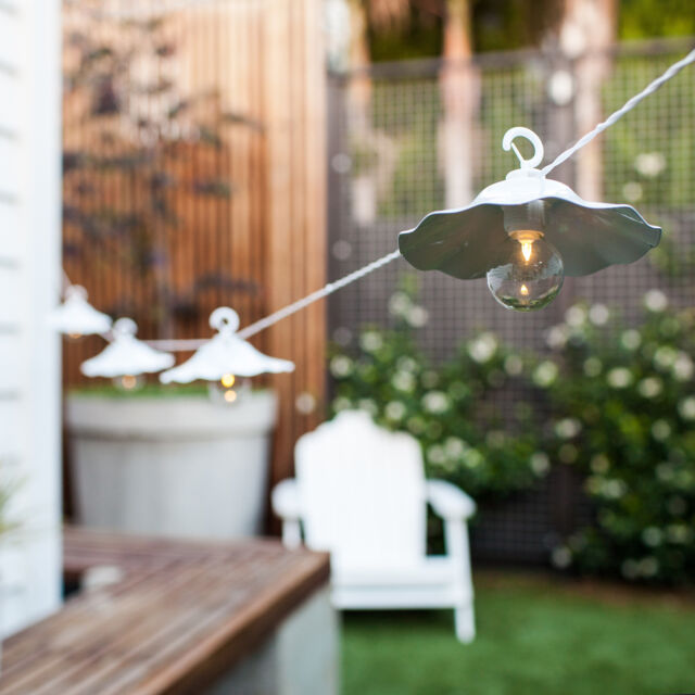 8 White Metal Lantern Battery Operated Outdoor Garden LED Party Fairy Lights
