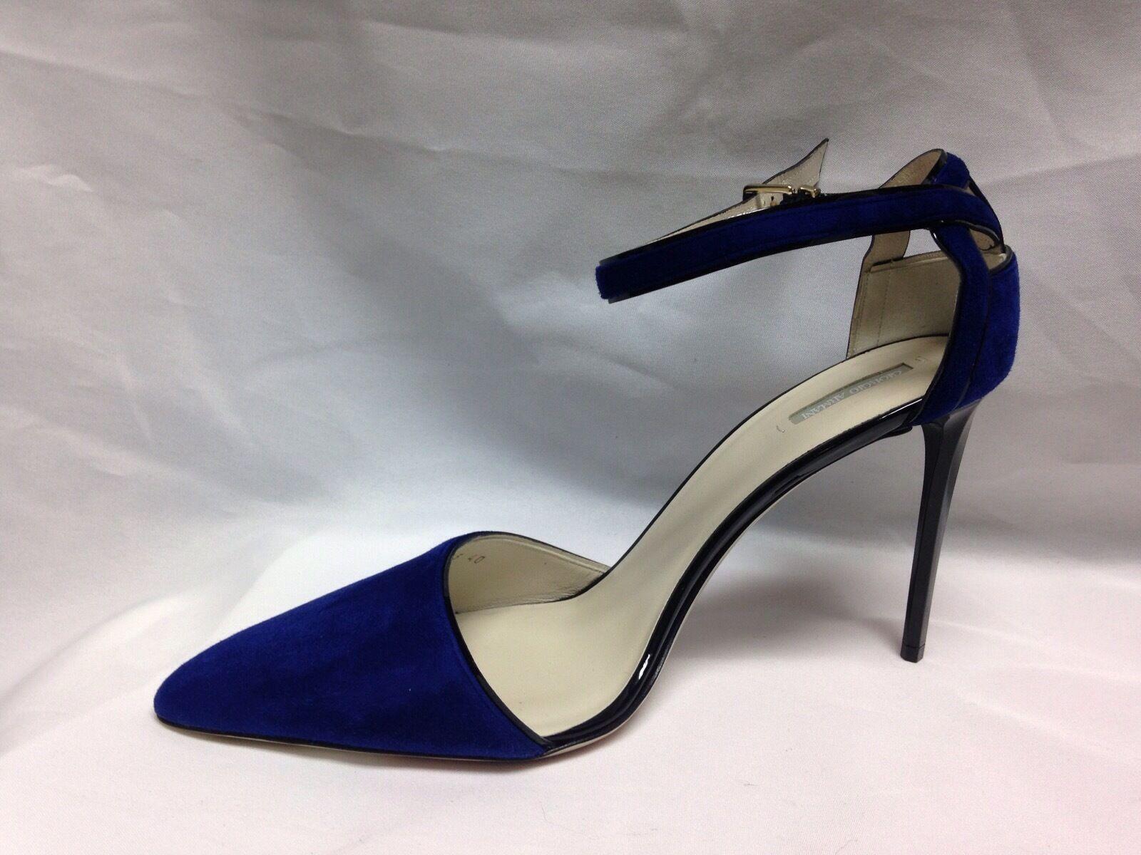 Giorgio Armani Ankle Strap Suede Suede Strap Heels  X1E563 40  Ink/Nero New w/ Box 46edc8