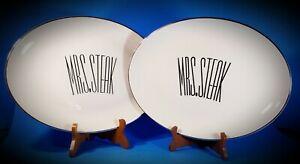 Vintage-Triomphe-034-MRS-amp-MRS-STEAK-034-Restaurant-Ware-Oval-Platters-Mid-century