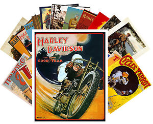 Postcards-Pack-24-cards-Harley-Davidson-Bike-Vintage-Ads-Poster-Terrot-CC1023
