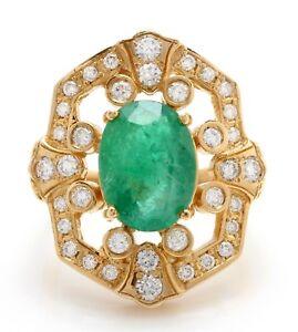 5-70-Quilate-Natural-Zambia-Esmeralda-Diamantes-en-14K-Oro-Amarillo-de-Mujer