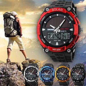 Men-039-s-Solar-Powered-Military-Digital-Watch-Waterproof-Sport-Analog-Date-Quartz
