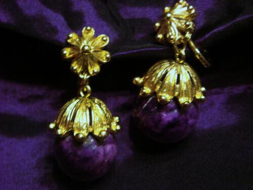 Vtg Trifari Goldtone Clip On Purple Earrings