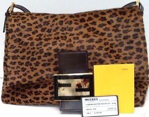 4dacfb0d4ed8 NEW! Gorgeous FENDI Leopard Animal Print Calf Hair Leather Shoulder ...