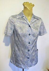 SHIRT-BLOUSE-Genuine-70-039-s-VINTAGE-TOP-Short-sleeve-Button-down-Body-JACKET