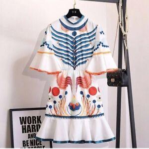 New-Women-Ladies-White-Summer-Short-Bell-Sleeve-Printed-Mini-Party-Dress