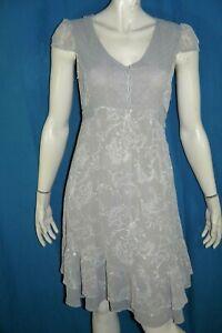 ET-COMPAGNIE-Taille-38-Superbe-robe-manches-courtes-grise-dress-kleid