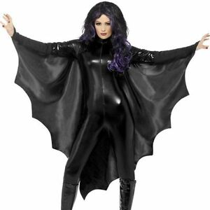 Black Vampire Bat Wings Cape Ladies Adult Womens Halloween Fancy Dress Costume