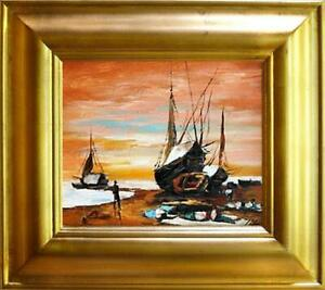 Painting-Oil-Painting-Picture-Oil-Frame-Pictures-Sea-Ships-Oil-Painting-G01398