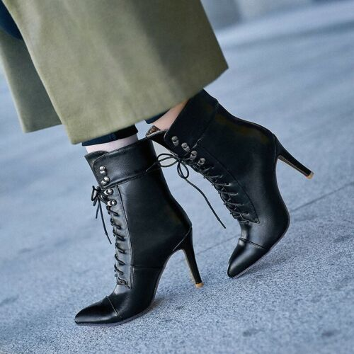 Ladies Womens Pointy Toe Lace Up High Heel Stiletto Ankle Boots Party Shoes Size