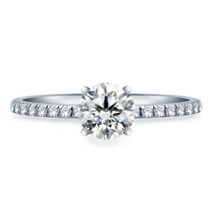 0.74 Ct Round Cut Real Moissanite Anniversary Ring 14K Solid White Gold Size 4