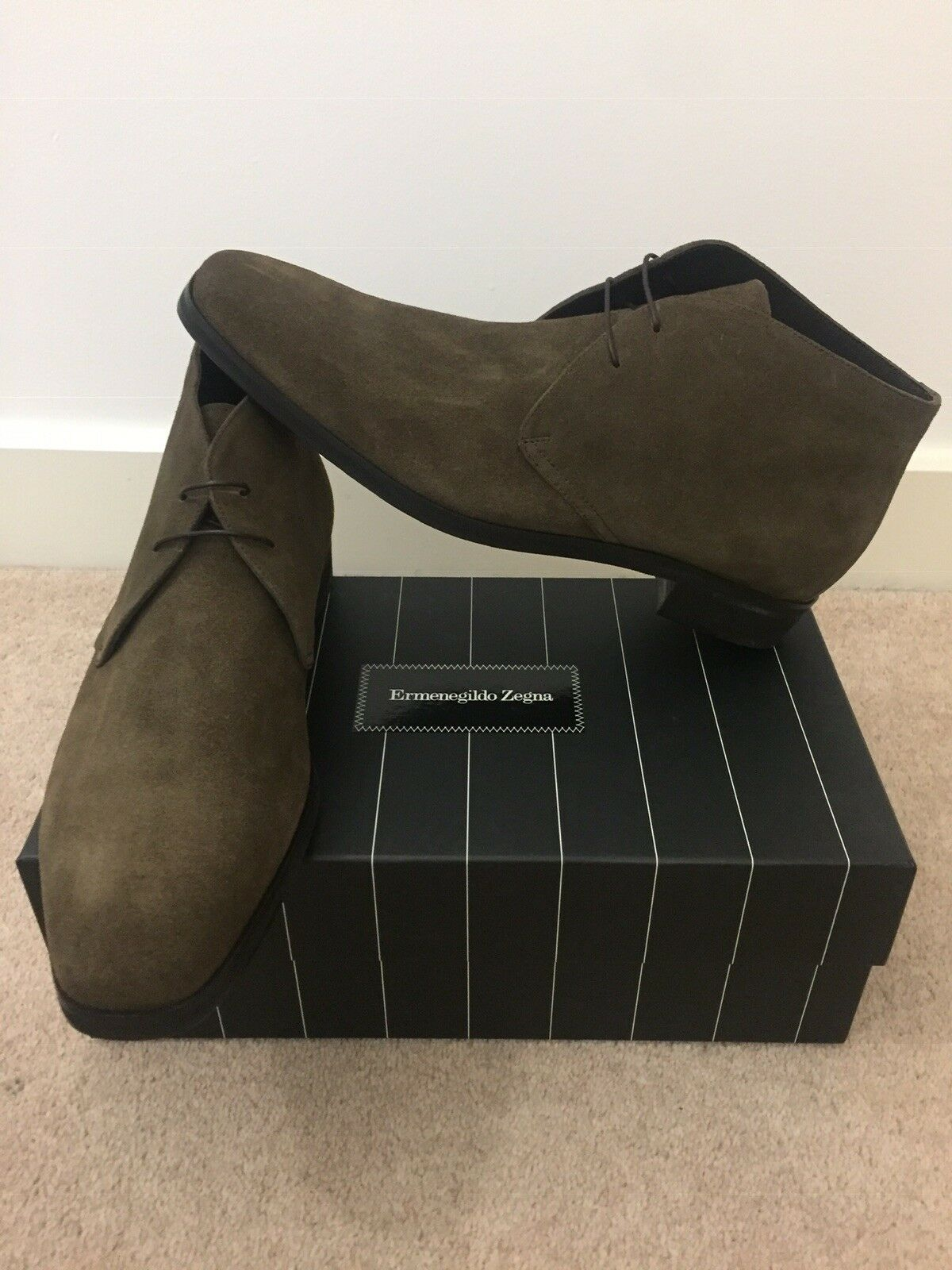 Ermenegildo Zegna Dark gris Suede Desert bota 10(44)BNWB  Selling