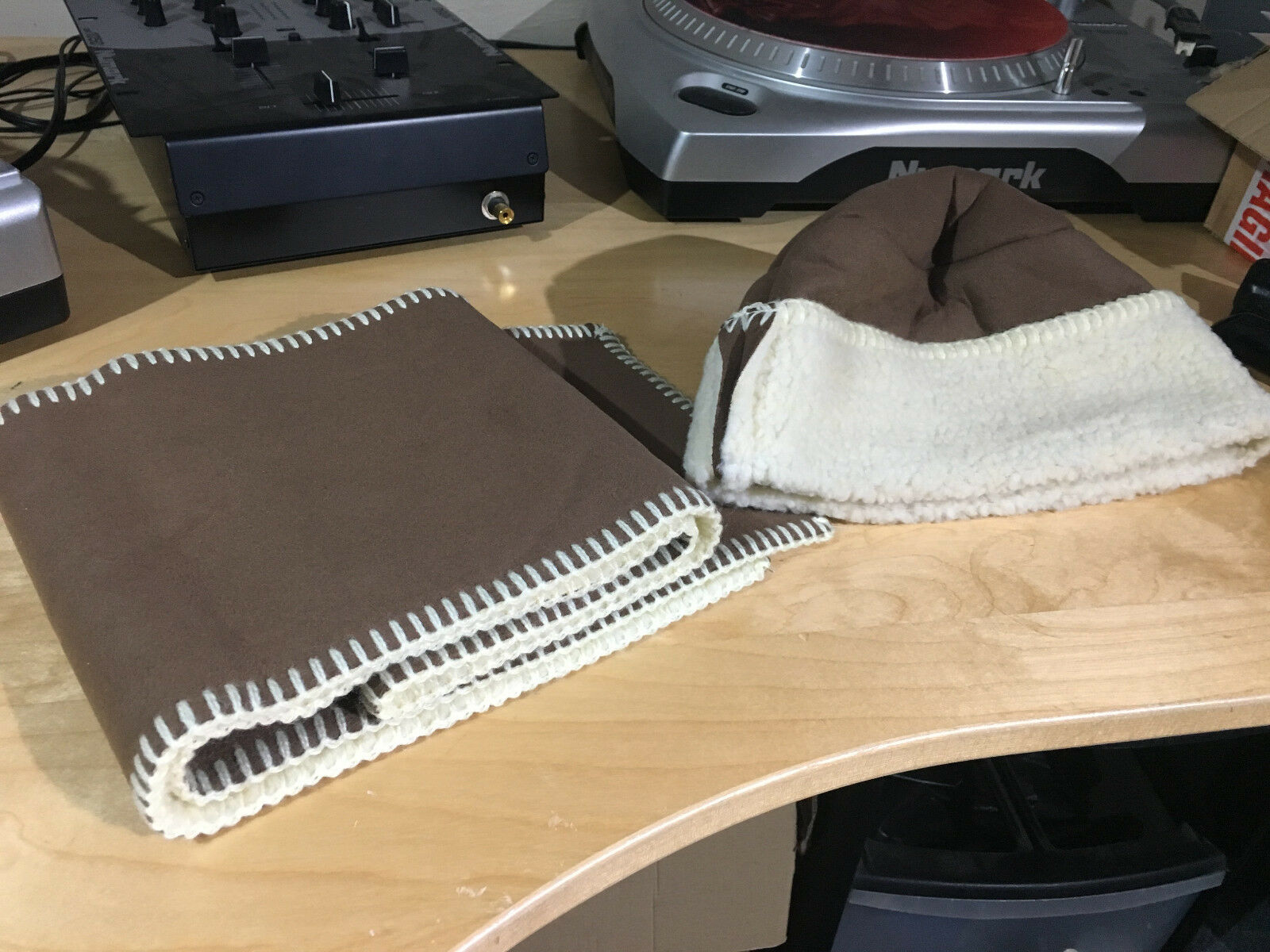 Tweedmill Hat and Scarf - Light brown & Cream / Tan Fury Faux Wool