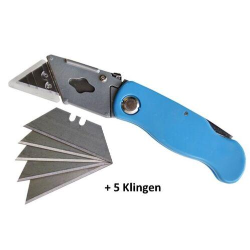 Universal 5 Ersatzklingen Trapez Metall Messer inkl Teppichmesser Cutter