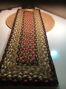 "Earth Rugs Rectangle - Black , Orange, Beige And Olive Green 8.25"" X 27"""
