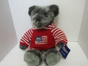 Dillard-039-s-TEDDY-BEAR-Grey-USA-Knit-Hoody-Red-White-Blue-Sweater-Flag-16-034-Plush